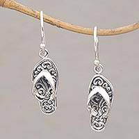 Sterling silver dangle earrings, 'Celuk Sandal' - Handmade Sterling Silver Dangle Sandal Earrings from Bali