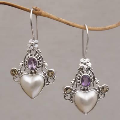 Multi-gemstone dangle earrings, 'Flying Hearts' - Cultured Pearl, Amethyst and Citrine Heart Dangle Earrings