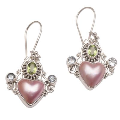 Cultured Pearl Blue Topaz and Peridot Heart Dangle Earrings