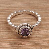 Amethyst single-stone ring, 'Pretty Posy' - Single Stone Amethyst and Sterling Silver Ring