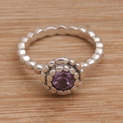 Single Stone Amethyst and Sterling Silver Ring