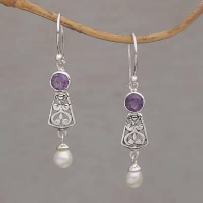 Amethyst and cultured pearl dangle earrings, 'Gracious Offering' - Hook Earrings with Amethyst and Cultured Pearl