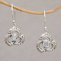 Blue topaz dangle earrings, 'Two of Clubs' - Club Shaped Sterling Silver and Blue Topaz Earrings