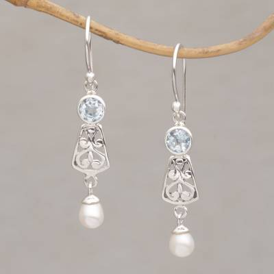 Blue topaz and cultured pearl dangle earrings, 'Gracious Offering' - Hook Earrings with Blue Topaz and Cultured Pearl