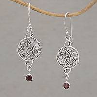 Garnet dangle earrings, 'Jepun Garden' - Garnet and Sterling Silver Frangipani Motif Earrings