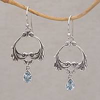 Blue topaz dangle earrings, 'Bali Garland' - Two Carat Blue Topaz Dangle Earrings from Bali