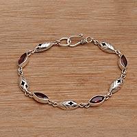 Garnet link bracelet, 'Opulent Nature' (Indonesia)