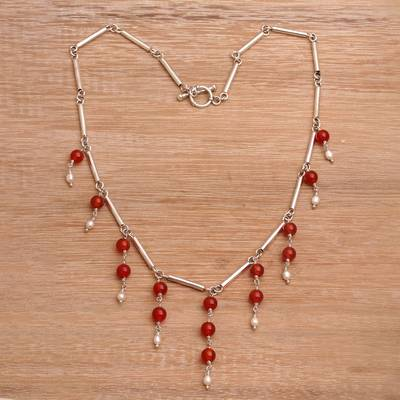 Cultured pearl and carnelian waterfall necklace, Bali Allure