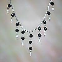Onyx and cultured pearl waterfall necklace, 'Eclipse Queen' - Cultured Freshwater Pearl and Black Onyx Waterfall Necklace