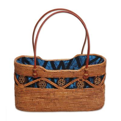 Handcrafted Ate Grass Lombok Handle Handbag from Bali