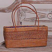 Ate grass handle handbag, 'Radiant Swirls' - Artisan Crafted Ate Grass Lombok Handle Handbag from Bali