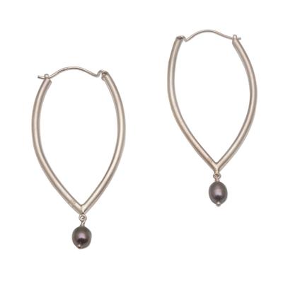 Cultured Freshwater Pearl and Sterling Silver Hoop Earrings