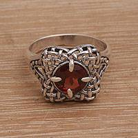 Garnet cocktail ring, 'Woven Petals' - Handmade 925 Sterling Silver Garnet Flower Cocktail Ring