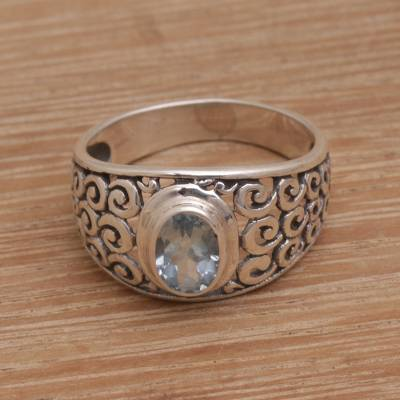 Large silver jewelry - Hand Made Blue Topaz Sterling Silver Scroll Work Band Ring