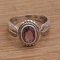 Amethyst cocktail ring, 'Band of Feathers' - Handmade 925 Sterling Silver Amethyst Cocktail Ring