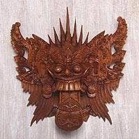 Wood mask, 'Queen Rangda' - Hand Carved Suar Wood Wall Mask from Indonesia