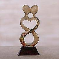 Wood sculpture, 'Figure of Love' - Handmade Jempinis Wood Kissing Couple Floral Sculpture