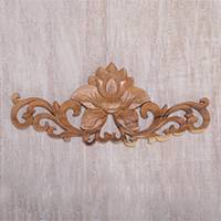 Wood relief panel, 'Lotus Vine' - Suar Wood Lotus Flower Relief Panel from Bali