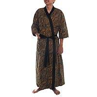 Men's cotton batik robe, 'Marvelous Mangrove' - 100% Cotton Leaf Men's Robe with Pocket and Matching Belt