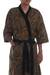 Men's cotton batik robe, 'Marvelous Mangrove' - 100% Cotton Leaf Men's Robe with Pocket and Matching Belt (image 2c) thumbail