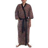 Men's cotton batik robe, 'Besakih Pebbles' - 100% Cotton Batik Men's Robe with Pocket and Matching Belt