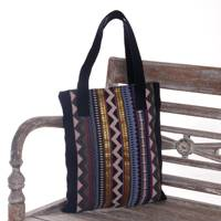 Cotton shoulder bag, 'Casual Songket' - Hand Made Geometric Patterned Cotton Shoulder Bag from Bali