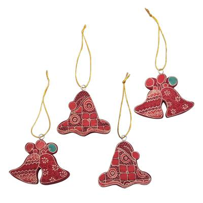 Batik Wadang Wood Bell Ornaments (Set of 4) from Java