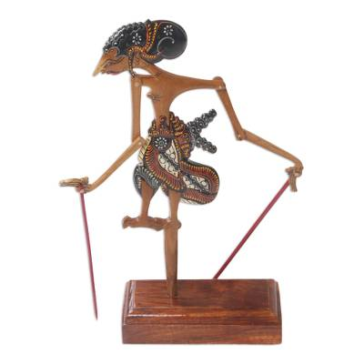 Wadang Wood Hindu Warrior Yudistira Decorative Shadow Puppet
