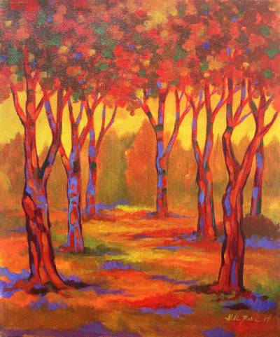 'Flamboyant Forest' - Signed Impressionist Painting of an Orange Forest from Java