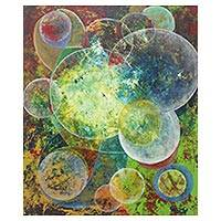 'Twins Seeking for White Color' - Signed Circle Motif Abstract Painting from Java