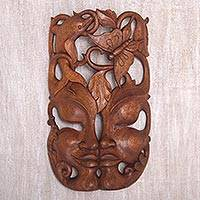 Wood wall mask, 'Nature's Twin' - Hand Crafted Balinese Suar Wood Wall Mask