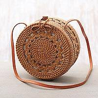Ate grass sling, 'Noble Griya' - Handcrafted Ate Grass Sling Handbag from Bali