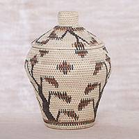 Palm leaf basket, 'Keepsake Woods' - Artisan Crafted Palm Leaf Decorative Basket from Bali