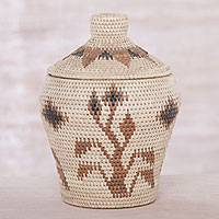Palm leaf basket, 'Keepsake Garden' - Handwoven Natural Palm Leaf Decorative Basket from Bali