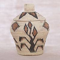 Palm leaf basket, 'Keepsake Forest' - Artisan Crafted Palm Leaf Decorative Basket from Bali