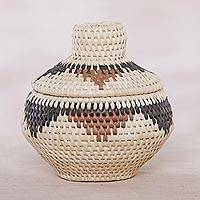 Palm leaf basket, 'Natural Style' - Palm Leaf Decorative Basket with Natural Colors from Bali