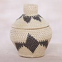 Palm leaf basket, 'Natural Chic' - Handcrafted Palm Leaf Decorative Basket from Bali