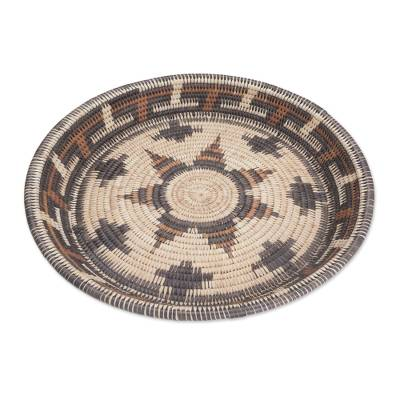 Intricate Handwoven Palm Leaf Decorative Basket from Bali