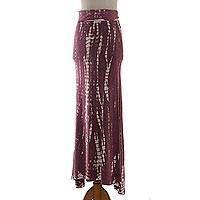 Tie-dyed rayon jersey maxi skirt, 'Aspiring Plum' - Plum and White Tie Dye Long Rayon Skirt from Indonesia