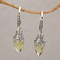 Gold accented lemon quartz dangle earrings, 'Eternal Promise' - Quartz and Gold Accented Sterling Silver Dangle Earrings