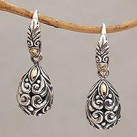 Gold accented sterling silver dangle earrings Tears of Eternity (Indonesia)