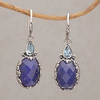 Sapphire and blue topaz dangle earrings, 'Palatial Horizon' - Sapphire and Blue Topaz Sterling Silver Dangle Earrings