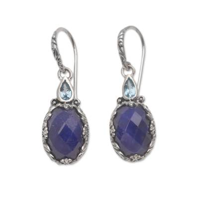 Sapphire and Blue Topaz Sterling Silver Dangle Earrings