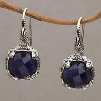 Sapphire dangle earrings, 'Floral Depths' - Sapphire and Sterling Silver Dangle Earrings from Bali