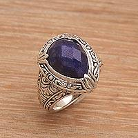 Sapphire cocktail ring, 'Palace Elegance' - Handmade Balinese Sapphire and Sterling Silver Cocktail Ring