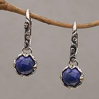Gold accent lapis lazuli dangle hoop earrings,