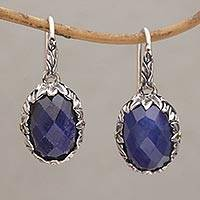 Gold accented sapphire dangle earrings, 'Perennial Passion' - Sapphire and Gold Accented Sterling Silver Dangle Earrings