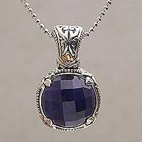 Gold accented sapphire pendant necklace, 'Serene Sovereignty' - Sapphire and Gold Accented Sterling Silver Pendant Necklace