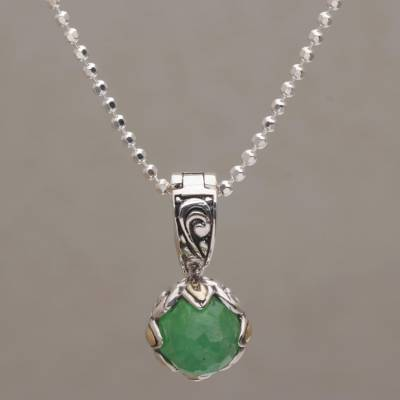 Gold accented jade pendant necklace, 'Blossoming Serenity' - Jade and Gold Accented Sterling Silver Pendant Necklace