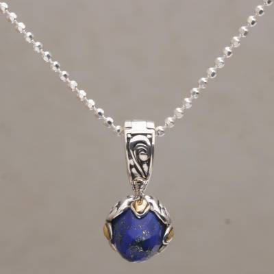 Gold accented lapis lazuli pendant necklace, 'Blossoming Serenity' - Lapis Lazuli and Sterling Silver Pendant Necklace from Bali